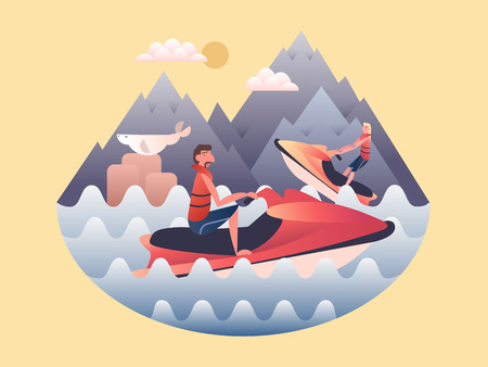 jetski: Jetski design flat. Water and speed jetski, sport power extreme, activity outdoor, vector illustration
