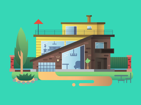 residential home: Modern country house. Home cottage building, residential architecture, real property design, vector illustration