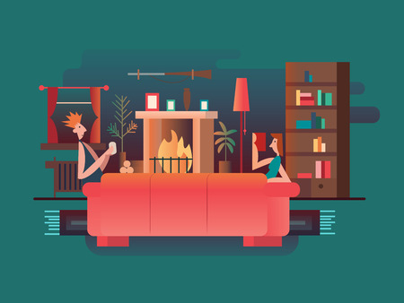 apartment living: Interior room fireplace. Home room, furniture modern, house and couch, living apartment architecture, vector illustration Illustration