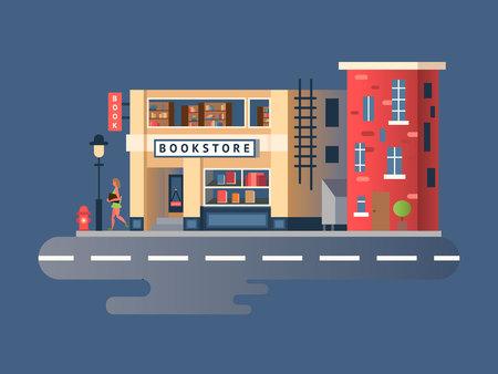 Boekwinkel gebouw. Store gebouw, winkel markt voorzijde, straatgevel, vector illustratie