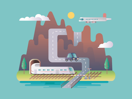 infrastructure: Transport infrastructure design flat. Transport highway, traffic view, vehicle speed tunnel, vector illustration Illustration