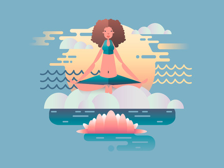 woman pose: Woman meditation design flat. Yoga health, pose relaxation, girl  meditating, position harmony. Vector illustration Illustration