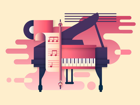 instrumental: Piano design flat. Music instrument, play keyboard, classic concert, classical sound melody, vector illustration