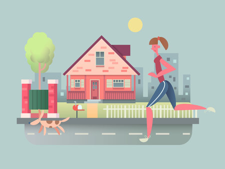 dog run: Woman run with dog on street. Pet running, sport outdoor girl, healthy jogging, vector illustration