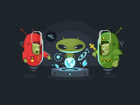 space invader: Newcomers meeting design flat. Monster alien, creature face, fantasy ufo cartoon,  vector illustration