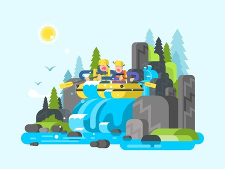 raft: Water river slalom rafting. Adventure sport, action extreme, boat on wave, team group outdoor raft, vector illustration