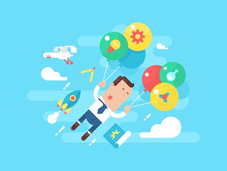 careers: Business man fly with balloons. Concept startup. Businessman success, leadership career, vector illustration