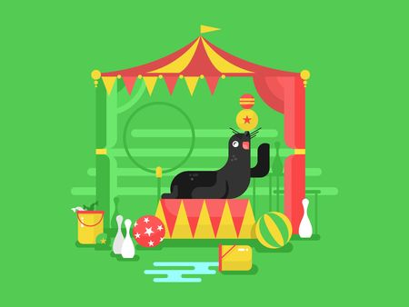 Fur seal in a circus. Animal mammal, marine character trained with flipper, vector illustration Illustration