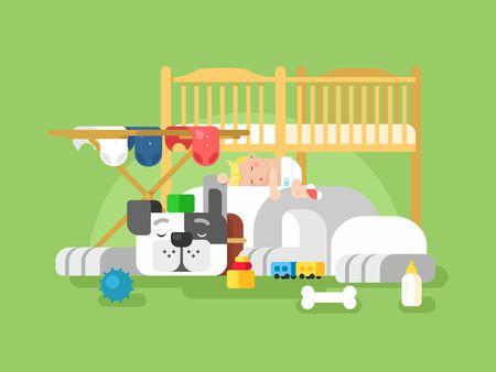 infant baby: Dog and baby sleep. Cute animal pet, adorable small sleeping child, infant sleep, vector illustration