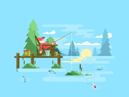 fish pond: Rest fishing design. Vacation and relaxation, outdoor tourism fish, vector illustation