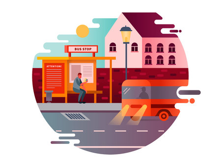 Bus stop design flat. Transport traffic, city public transportation, road station, vector illustration