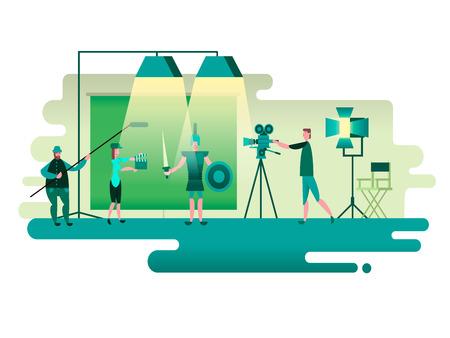 El rodaje de la película histórica. producción de cámara, disparar el cine, el cine de imagen de movimiento, ilustración vectorial