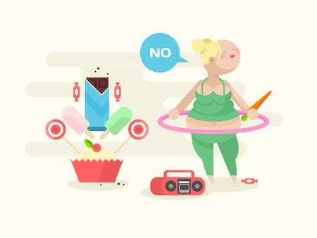 aerobic: Fat girl with a hoop. Exercise sport gymnastic fitness, woman aerobic, vector illustration