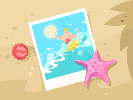 swell: Photos surfer on the a wave crest. Surfing water sport, beach and swimming surf outdoor, vector illustration
