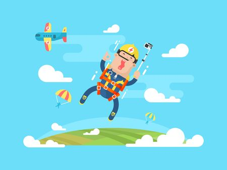 parachuting: Skydiving sport flat. Jump with parachute design, parachuting extreme, skydiver man parachutist, vector illustration