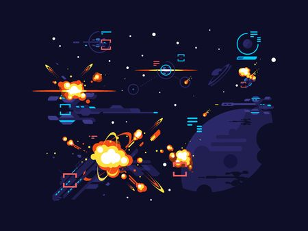 Battle star space. Fantasy science futuristic, spaceship alien, cosmic war with sci-fi, vector illustration