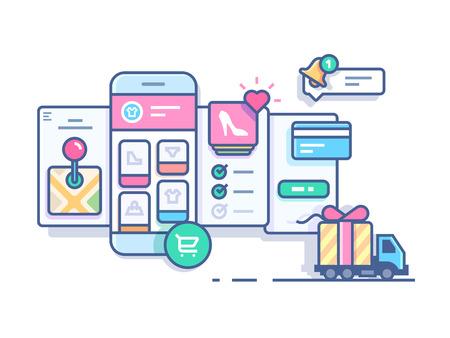 web store: Online mobile shop. Technology business store web,  e-commerce marketing, vector illustration