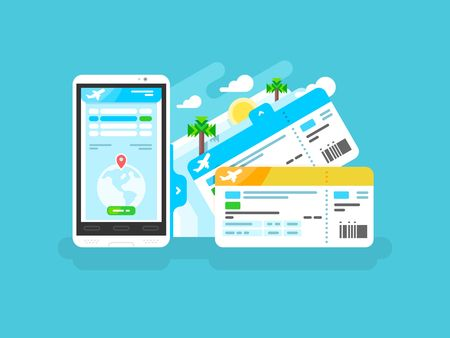 Tickets for the plane on a smartphone. Travel airplane, internet online trip, mobile phone flight airline, vector illustration