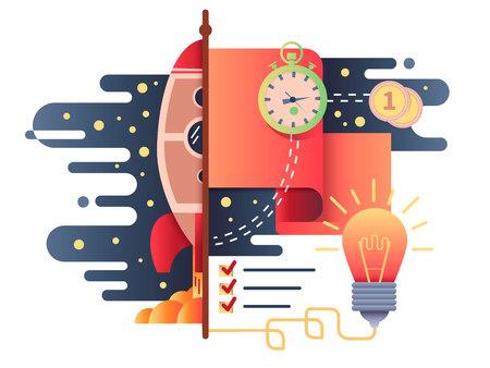 gestion empresarial: El inicio de negocios diseño plano. comercialización de cohetes, desarrollo de la gestión y análisis, ilustración vectorial Vectores