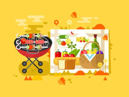 grill meat: BBQ party design flat. Grill picnic and barbecue hot meat. Vector illustration