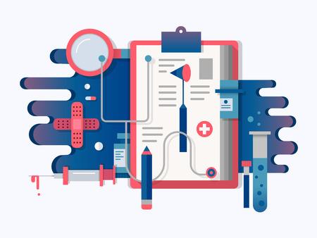 medical equipment: Doctor tools design flat. Health medical equipment for care, vector illustration Illustration