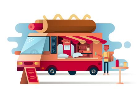 cafe food: Cafe van hot dogs. Service cafe food, car restaurant, vector illustration
