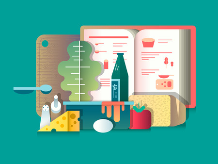 assortment: Book of recipes and products for cooking. Cooking food, culinary and assortment. Vector illustration Illustration