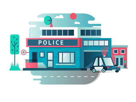 motors: Building of the Police Department. Architecture exterior street, vector illustration