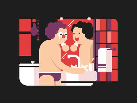 looking in mirror: Reflection in mirror morning. Person face looking in bathroom reflect, vector illustration