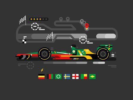 Motorsport formula one. F1 speed sport car race, fast championship, motor track competition, vector illustration Illustration