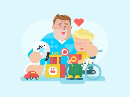 child boy: Father and son with toy. Child boy happy, childhood and smiling parent, playing dad. Vector illustration