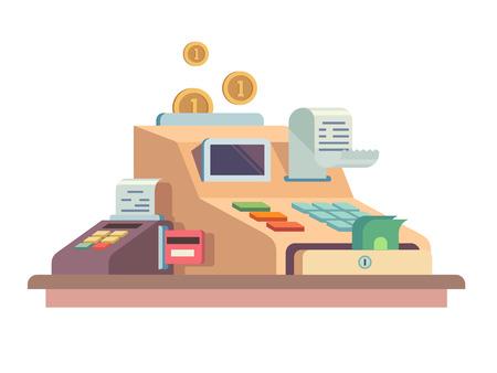 Kassenvorrichtung. Flüssige Mittel und Wirtschaft, Finanzen Maschine und registrieren Geld, Vektor-Illustration Vektorgrafik
