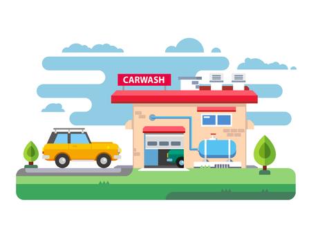 carwash: Car wash station. Service auto clean, garage and transport. Vector illustration Illustration