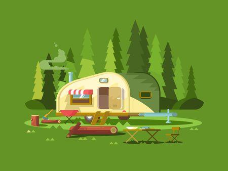 Trailer voor reizen in het bos. Zomer vakantie, avontuur voertuig voor het toerisme, reis vrachtwagen, vector illustratie