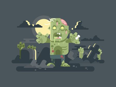 putrid: Zombies in cemetery night. Halloween horror, grave scary, fear and spooky, cross and tombstone. Vector illustration