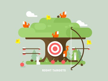 targets: Right targets tree with animal. Business aim, achievement goal, accuracy and perfection. Vector illustration