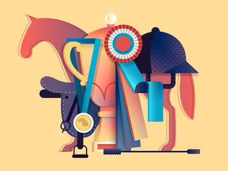 stirrup: Win in equestrian sport. Horse race animal, horseback and prize, vector illustration