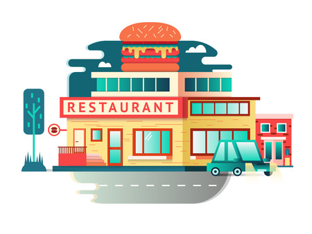 commercial tree service: Restaurant building flat design. Architecture facade, food cafe construction. Vector illustration Illustration