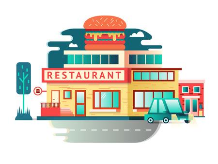 Restaurant building flat design. Architecture facade, food cafe construction. Vector illustration Illustration