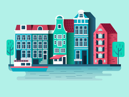 urban building: Amsterdam city design flat. Building house, town architecture, urban street. illustration Illustration