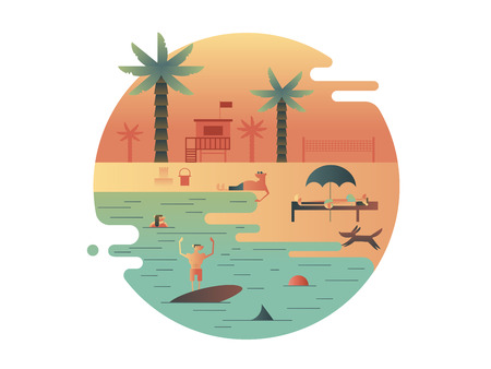 tourism: Beach icon with palm and people. Travel and vacation, tourism summer. illustration