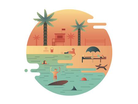 turismo: Icono de playa con palma y la gente. Viajes y vacaciones, verano turismo. ilustración
