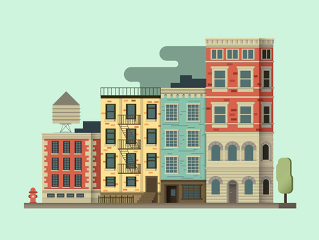 new york street: New york city building. Cityscape usa, architecture exterior, urban street. illustration