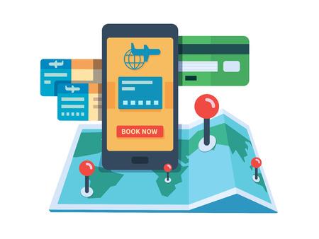 Het boeken van reizen online concept. Internet reserveren ticket met flight service, illustratie