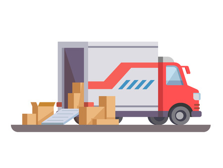 Delivery truck with box. Transport cargo, service truck vehicle, illustration Vectores