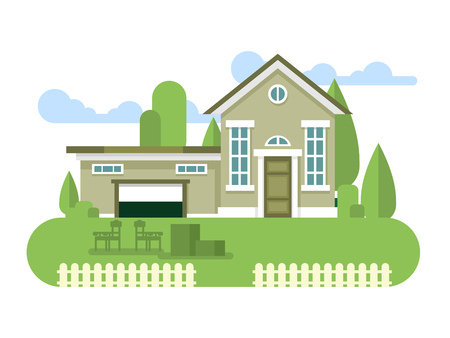 residential structure: Building home flat. House architecture exterior, residential structure, illustration