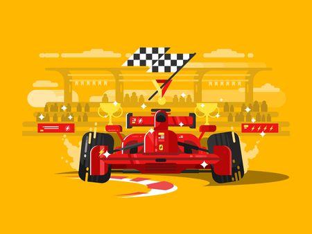 bandera carreras: Carro deportivo. la competencia carrera de velocidad, los vehículos de motor de auto, transporte campeón, ilustración Vectores