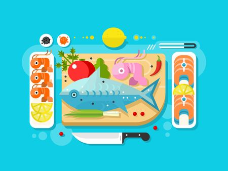 delicacy: Sea food fish product. Salmon piece, fresh eating, seafood delicacy.  illustration
