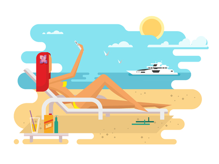 Girl on beach design flat. Summer vacation sea, young woman travel holiday. illustration Illustration