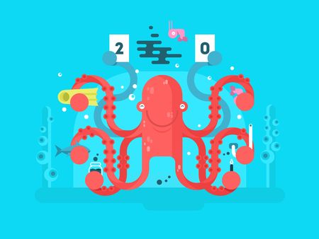 predictor: Octopus character design flat. Nature animal with tentacle, underwater invertebrate monster. illustration